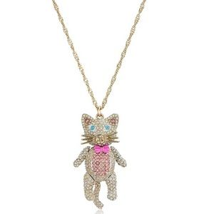 Betsey Johnson Crystals Pink White cat necklace